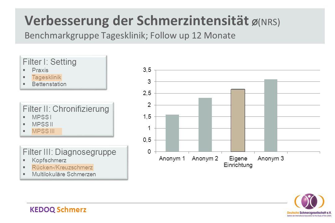 Verbesserung der Schmerzintensität Ø(NRS) Benchmarkgruppe Tagesklinik; Follow up 12 Monate