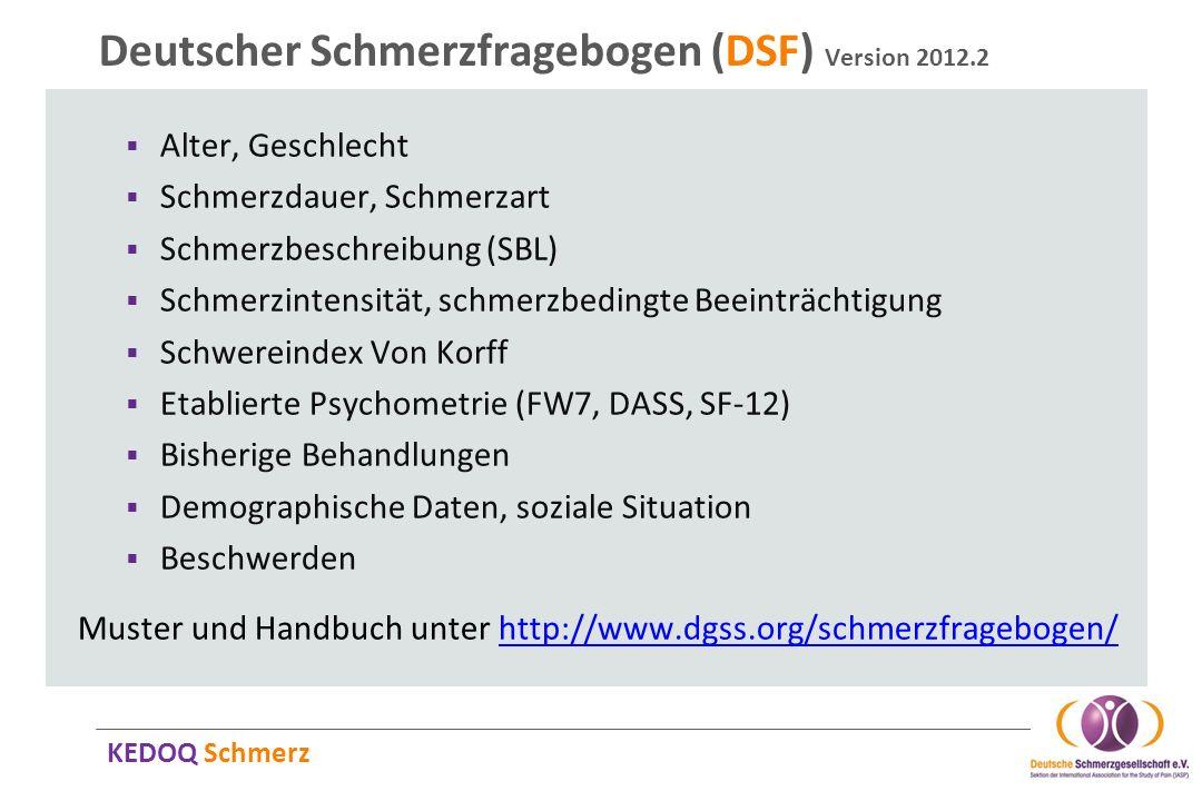 Deutscher Schmerzfragebogen (DSF) Version 2012.2