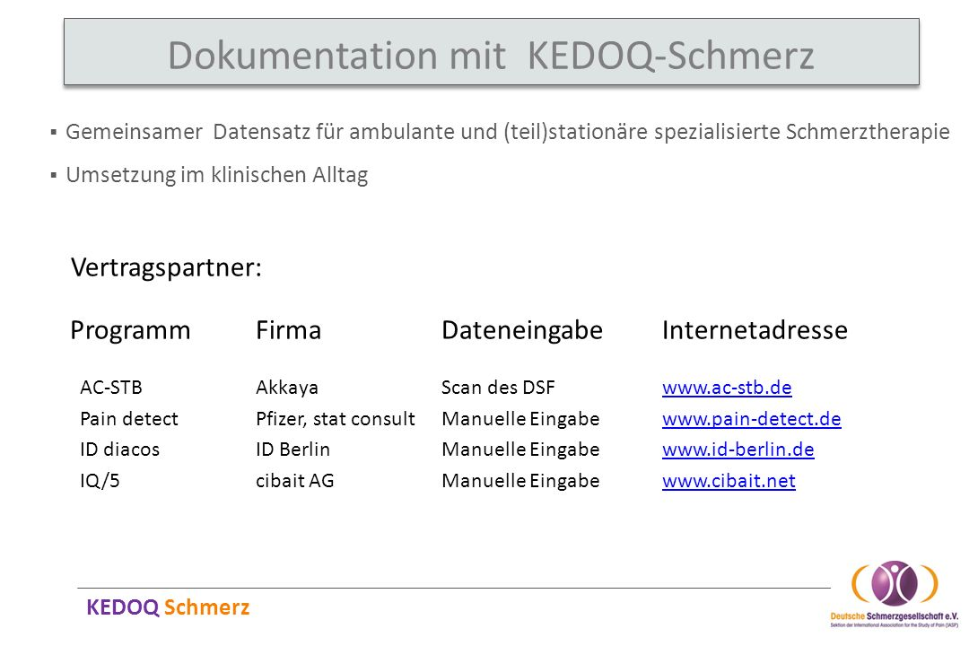 Dokumentation mit KEDOQ-Schmerz