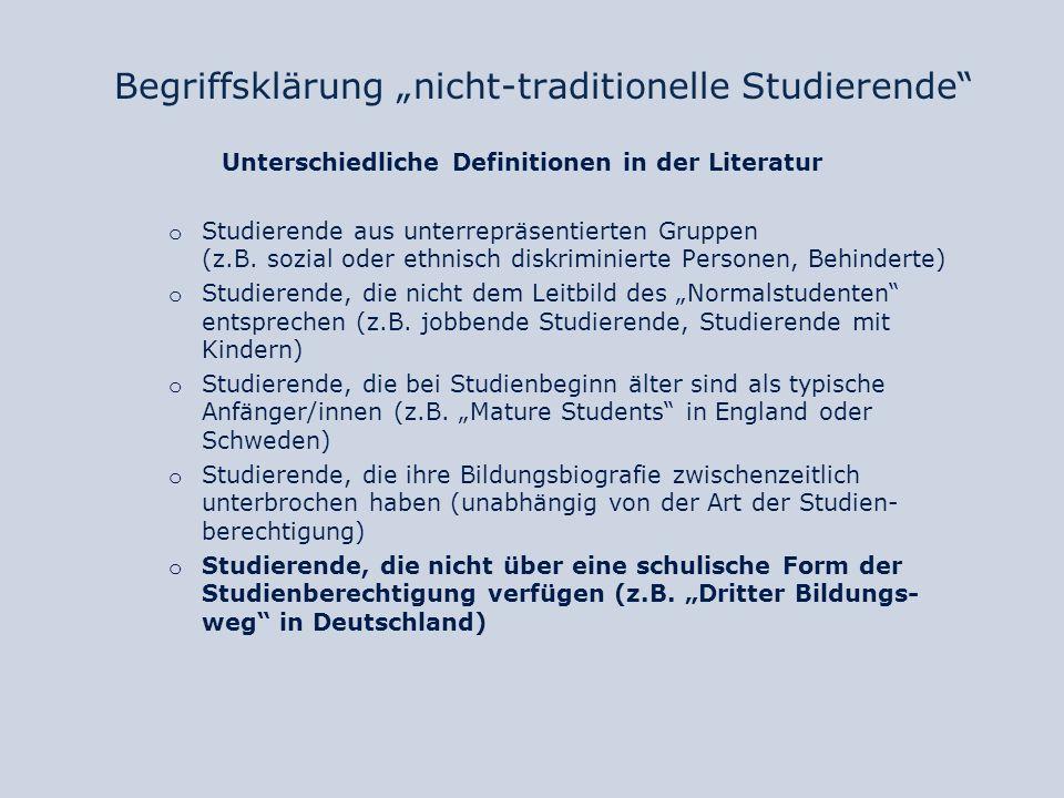 """Begriffsklärung """"nicht-traditionelle Studierende"""