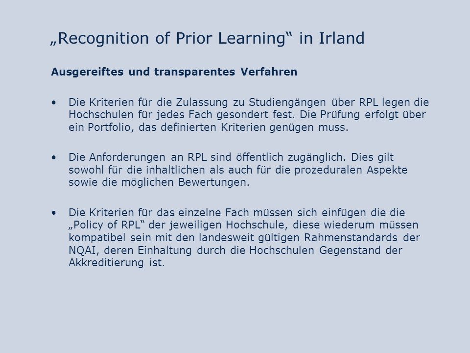 """Recognition of Prior Learning in Irland"