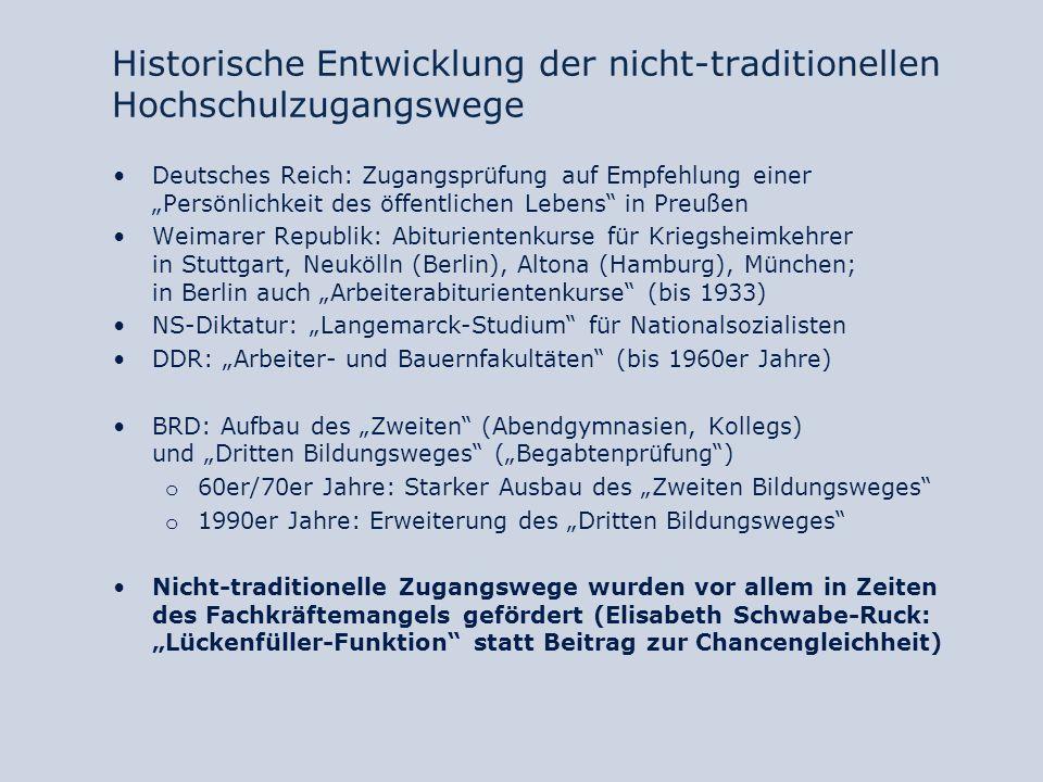 Historische Entwicklung der nicht-traditionellen Hochschulzugangswege