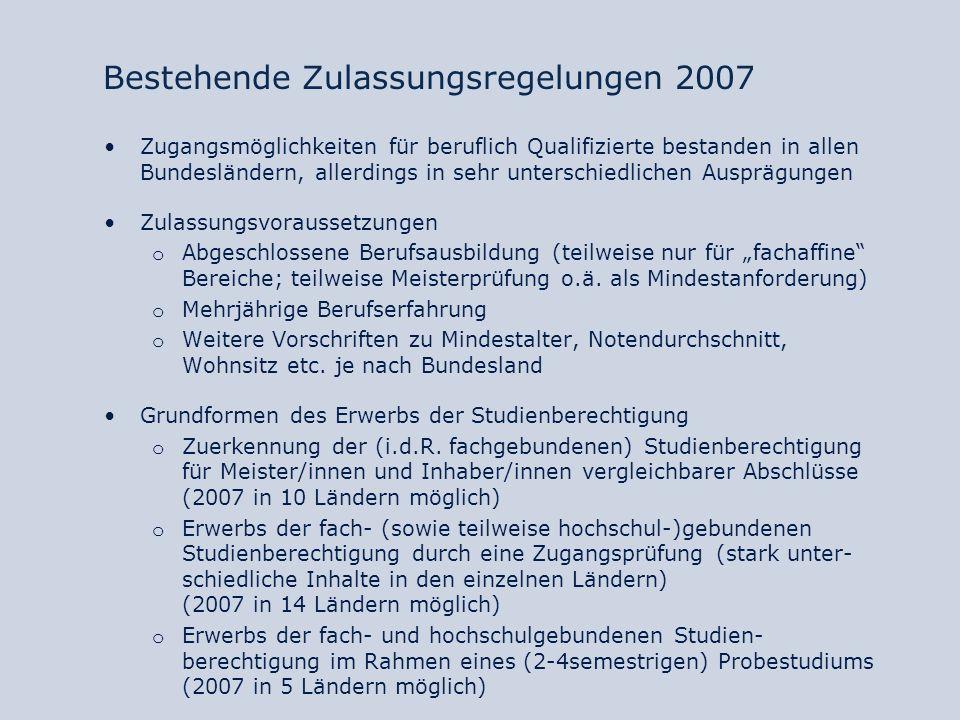 Bestehende Zulassungsregelungen 2007