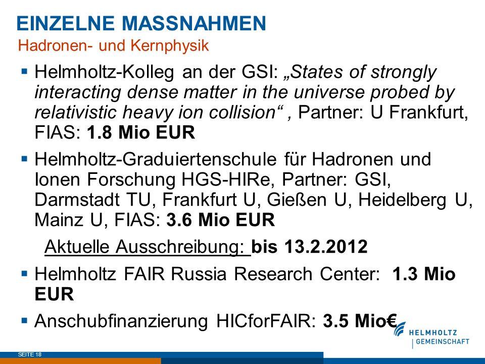 EINZELNE MASSNAHMEN Hadronen- und Kernphysik.