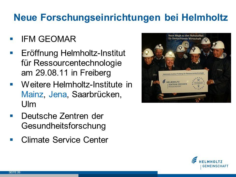 Neue Forschungseinrichtungen bei Helmholtz