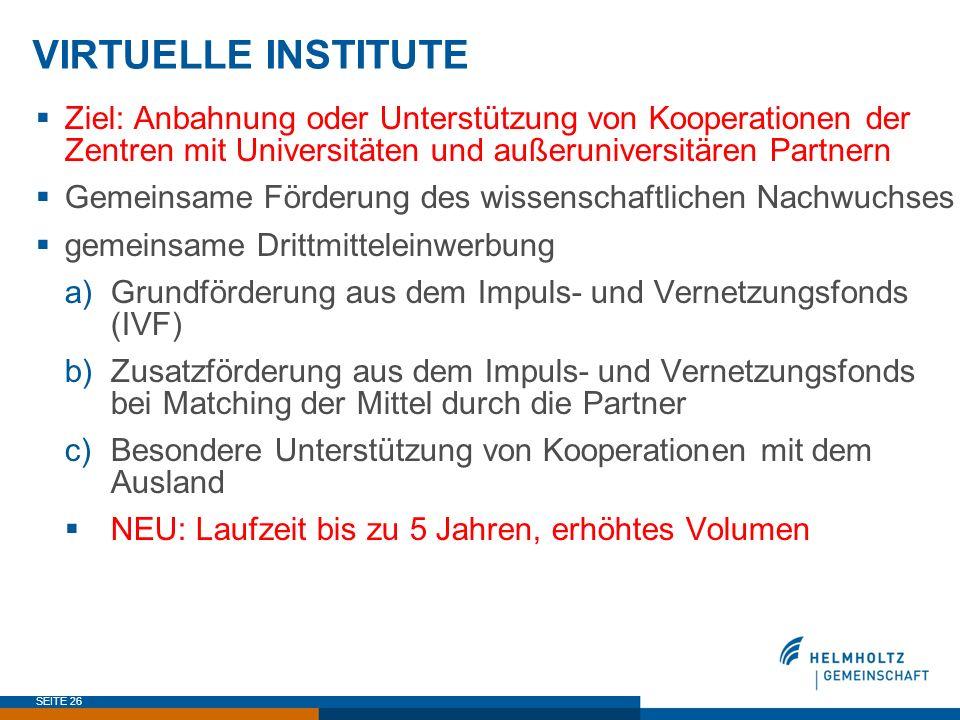 VIRTUELLE INSTITUTE Ziel: Anbahnung oder Unterstützung von Kooperationen der Zentren mit Universitäten und außeruniversitären Partnern.