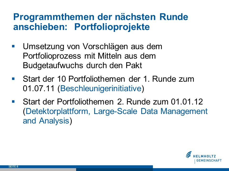 Programmthemen der nächsten Runde anschieben: Portfolioprojekte