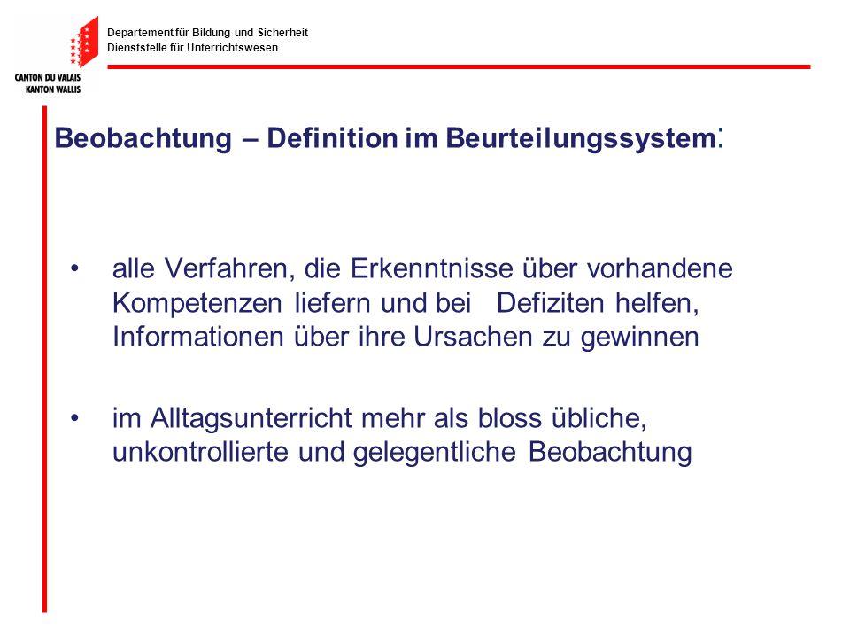 Beobachtung – Definition im Beurteilungssystem: