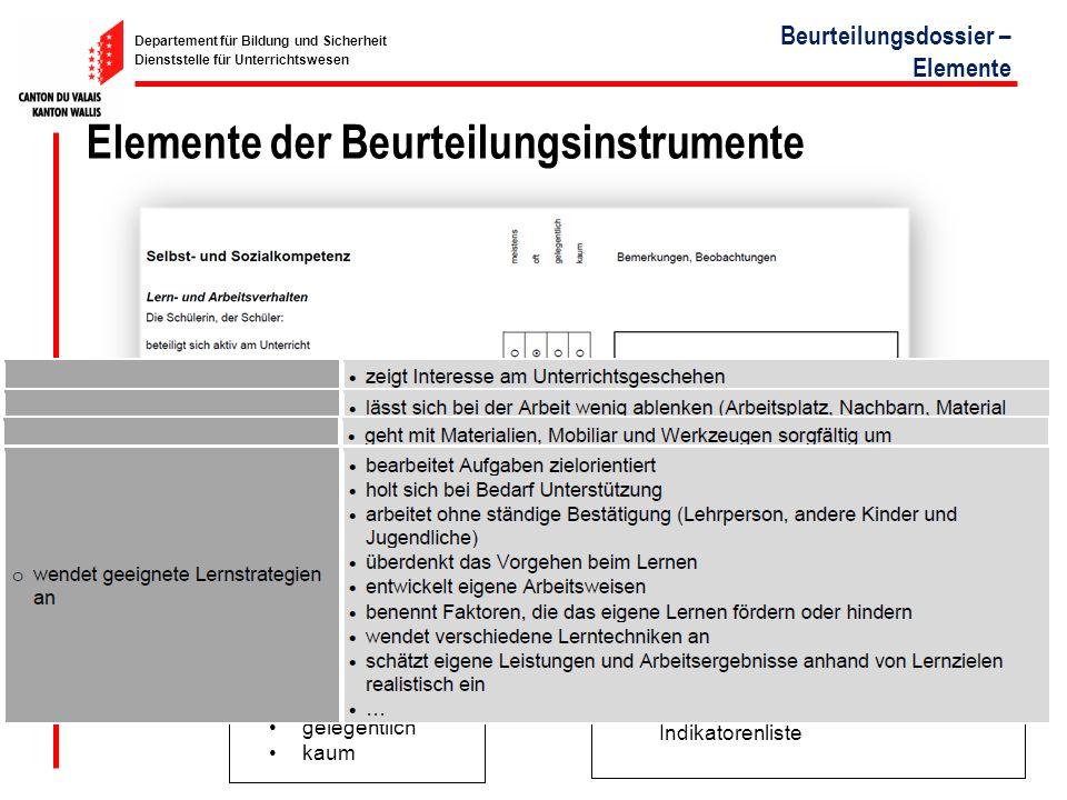 Elemente der Beurteilungsinstrumente