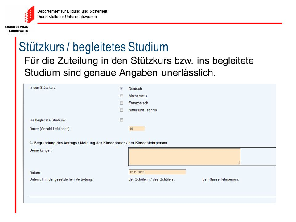 Stützkurs / begleitetes Studium