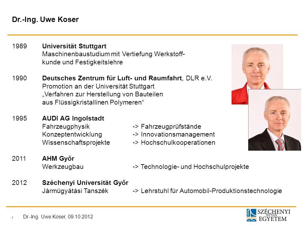 Dr.-Ing. Uwe Koser 1989 Universität Stuttgart