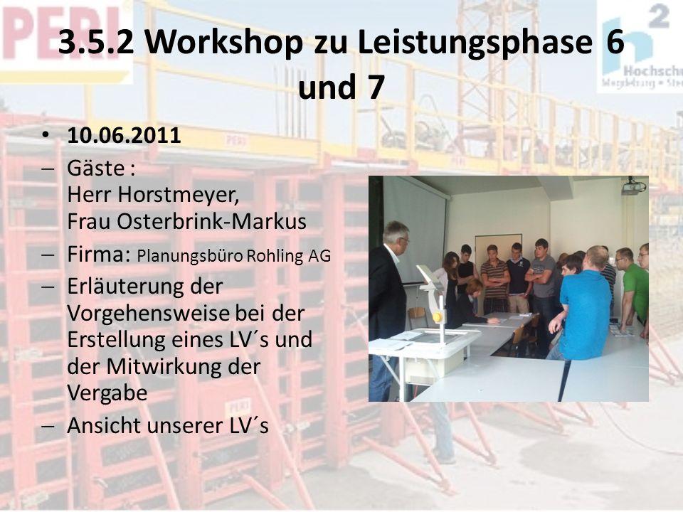 3.5.2 Workshop zu Leistungsphase 6 und 7