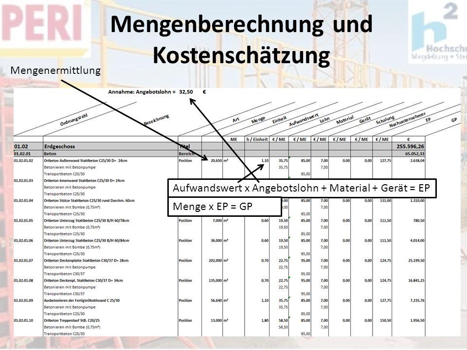 Mengenberechnung und Kostenschätzung