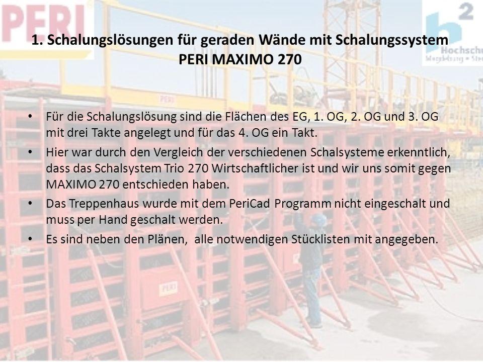 1. Schalungslösungen für geraden Wände mit Schalungssystem PERI MAXIMO 270