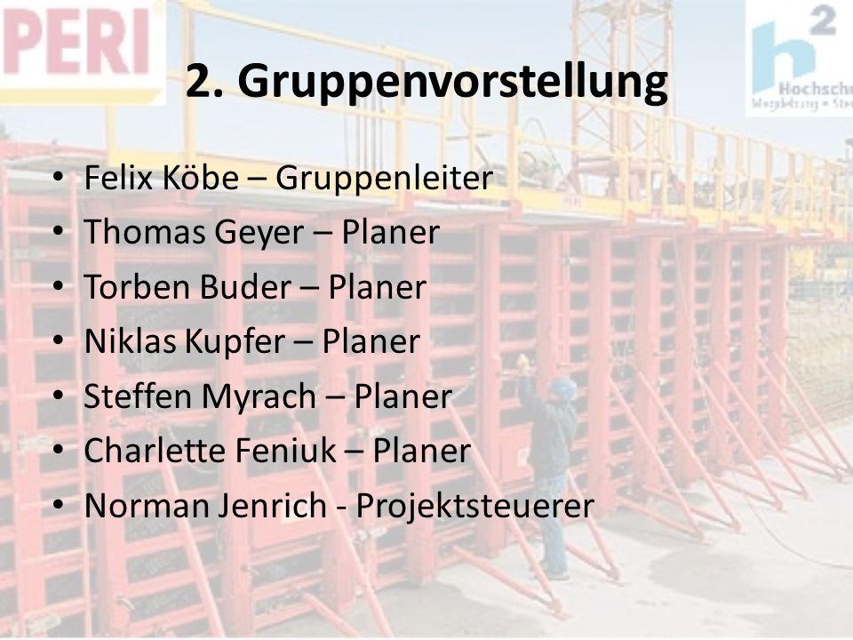 2. Gruppenvorstellung Felix Köbe – Gruppenleiter Thomas Geyer – Planer