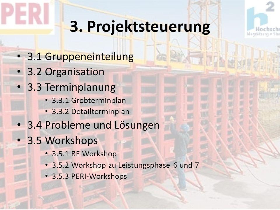 3. Projektsteuerung 3.1 Gruppeneinteilung 3.2 Organisation