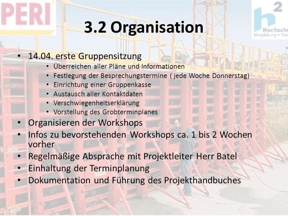 3.2 Organisation 14.04. erste Gruppensitzung