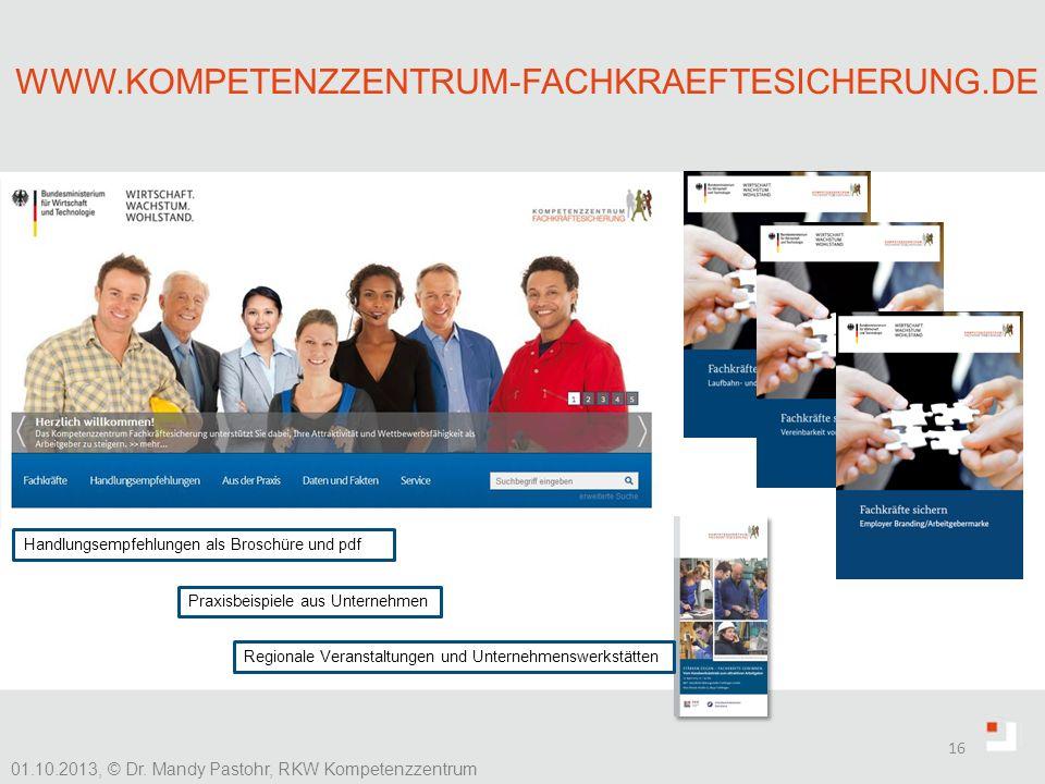 www.kompetenzzentrum-fachkraeftesicherung.de Handlungsempfehlungen als Broschüre und pdf. Praxisbeispiele aus Unternehmen.