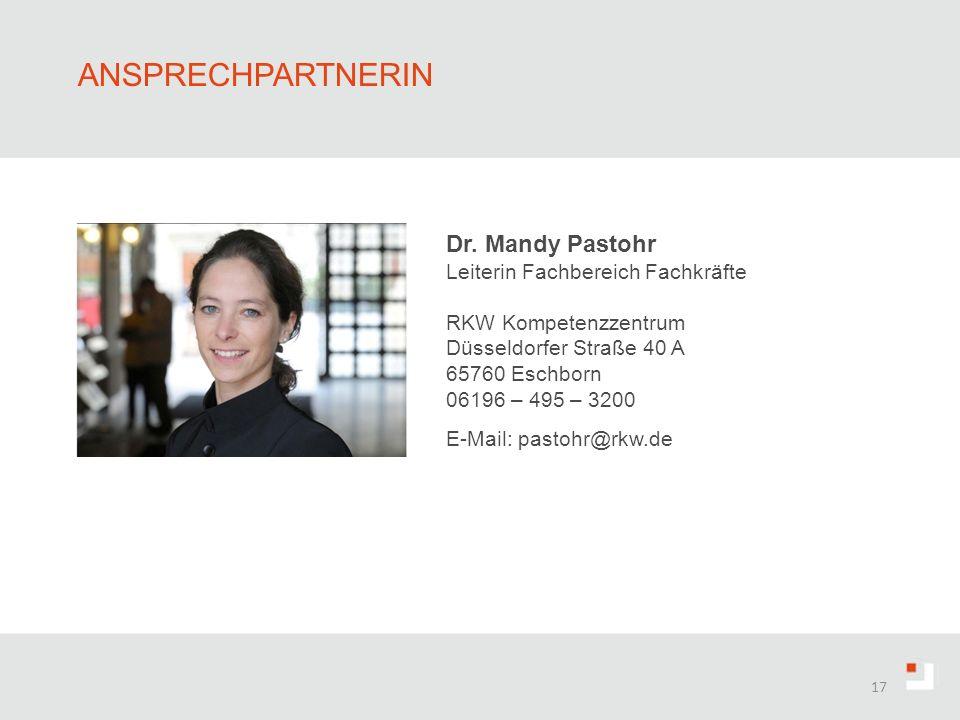 Ansprechpartnerin Dr. Mandy Pastohr Leiterin Fachbereich Fachkräfte