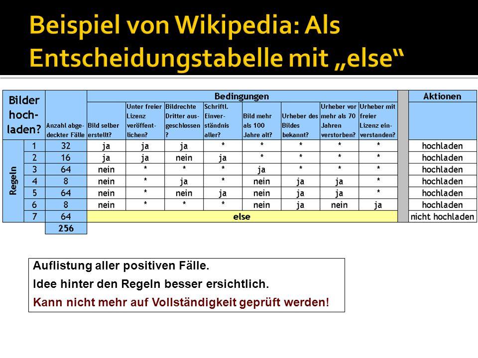 """Beispiel von Wikipedia: Als Entscheidungstabelle mit """"else"""