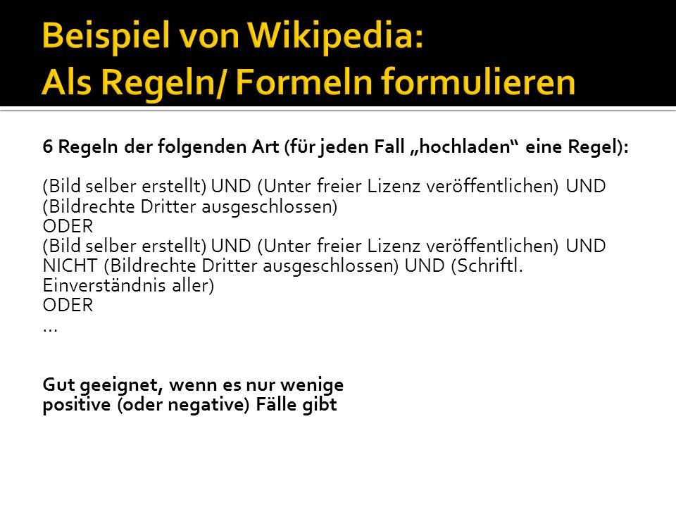 Beispiel von Wikipedia: Als Regeln/ Formeln formulieren