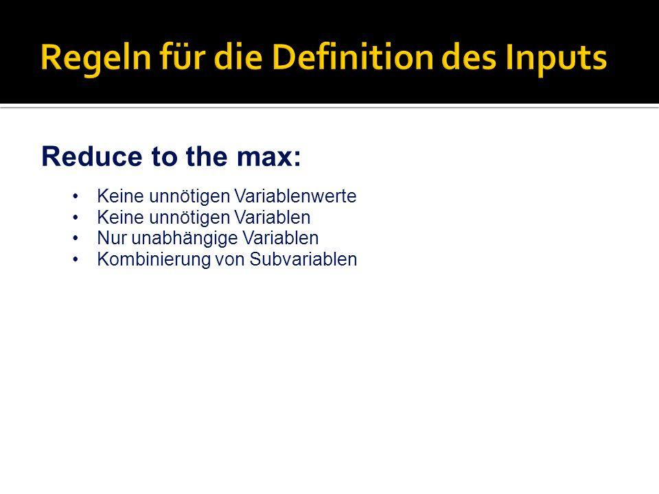 Regeln für die Definition des Inputs
