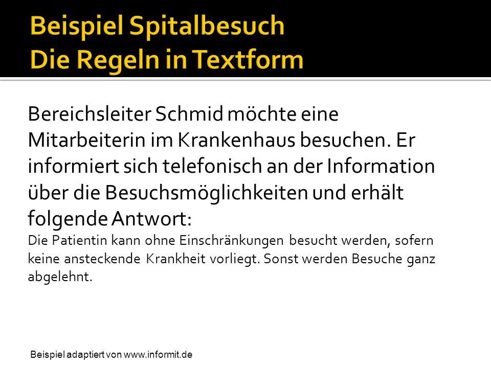 Beispiel Spitalbesuch Die Regeln in Textform