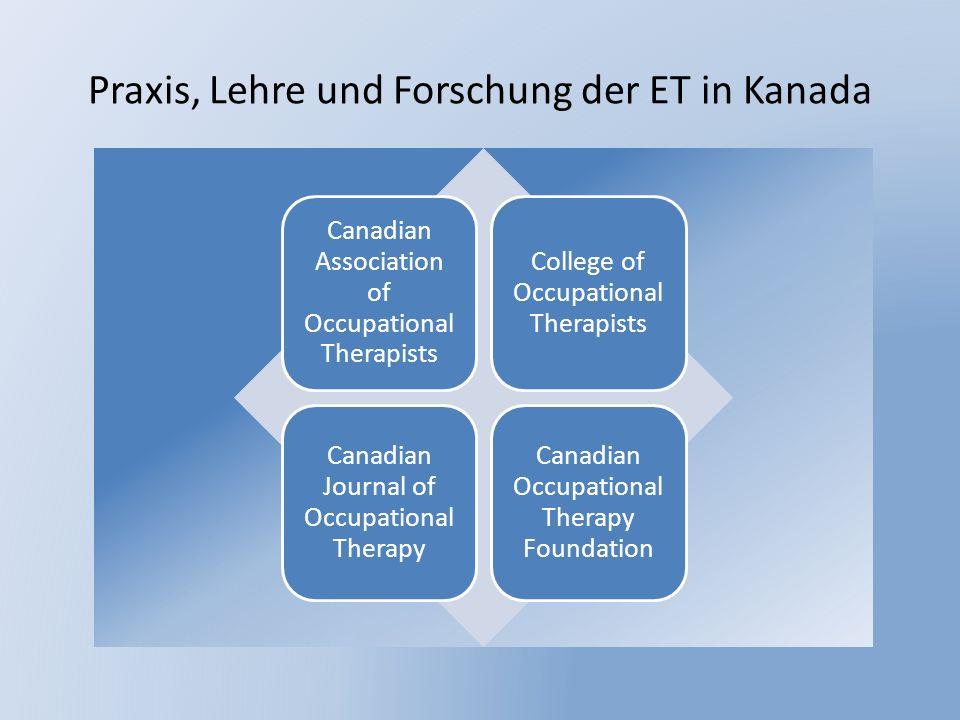 Praxis, Lehre und Forschung der ET in Kanada