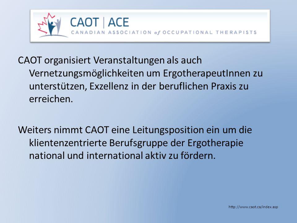 CAOT organisiert Veranstaltungen als auch Vernetzungsmöglichkeiten um ErgotherapeutInnen zu unterstützen, Exzellenz in der beruflichen Praxis zu erreichen.
