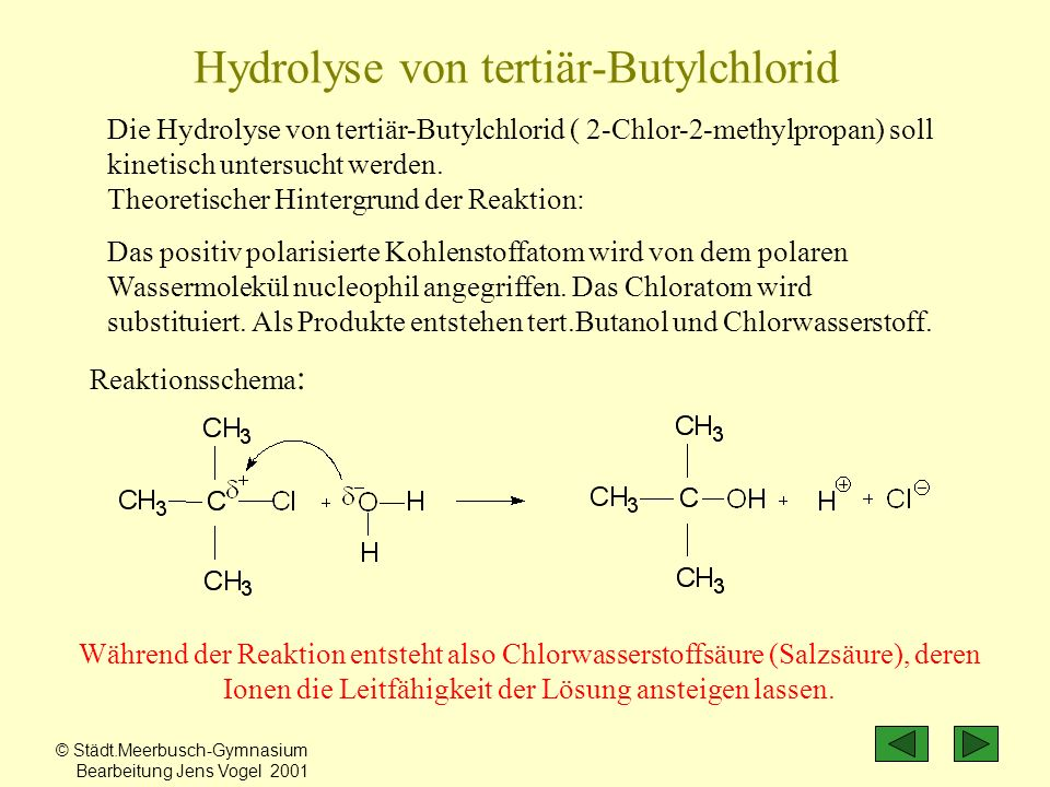 Hydrolyse von tertiär-Butylchlorid