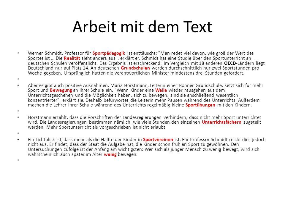 Arbeit mit dem Text