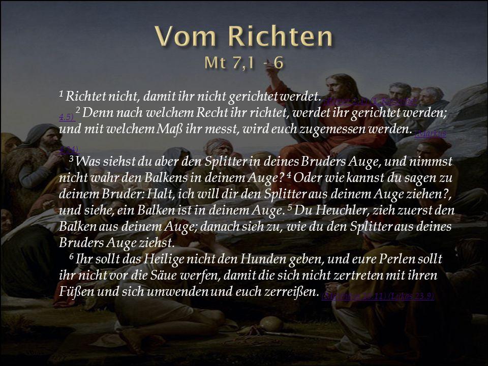 Vom Richten Mt 7,1 - 6