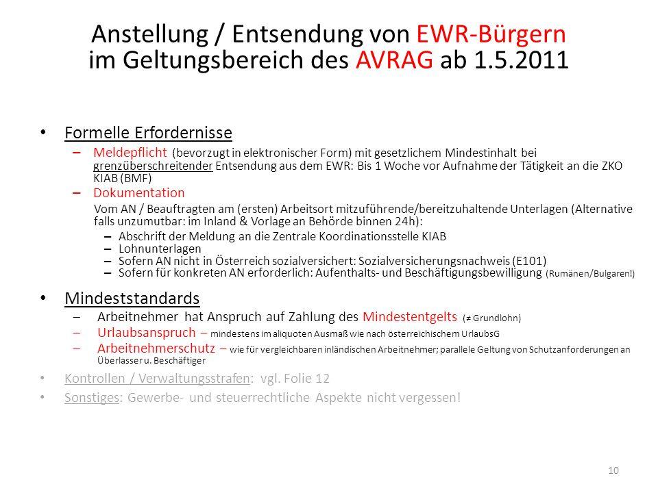 Anstellung / Entsendung von EWR-Bürgern im Geltungsbereich des AVRAG ab 1.5.2011