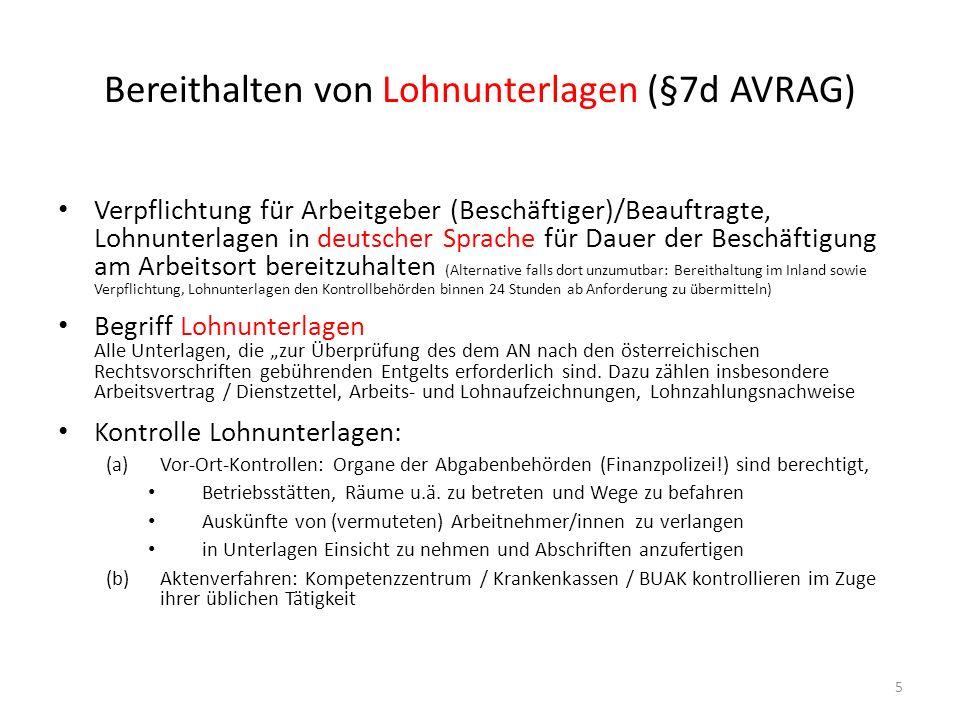 Bereithalten von Lohnunterlagen (§7d AVRAG)