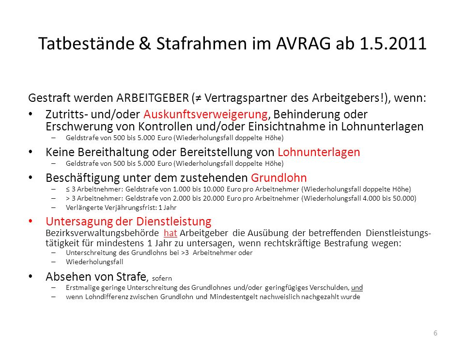 Tatbestände & Stafrahmen im AVRAG ab 1.5.2011