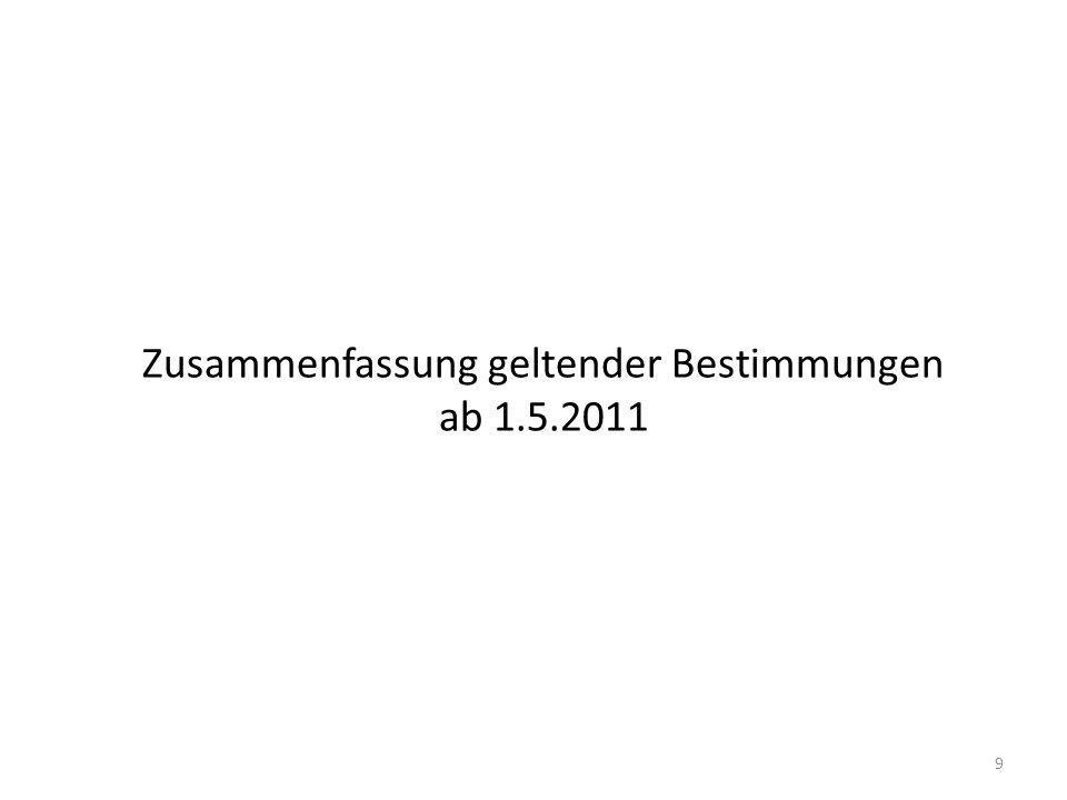 Zusammenfassung geltender Bestimmungen ab 1.5.2011
