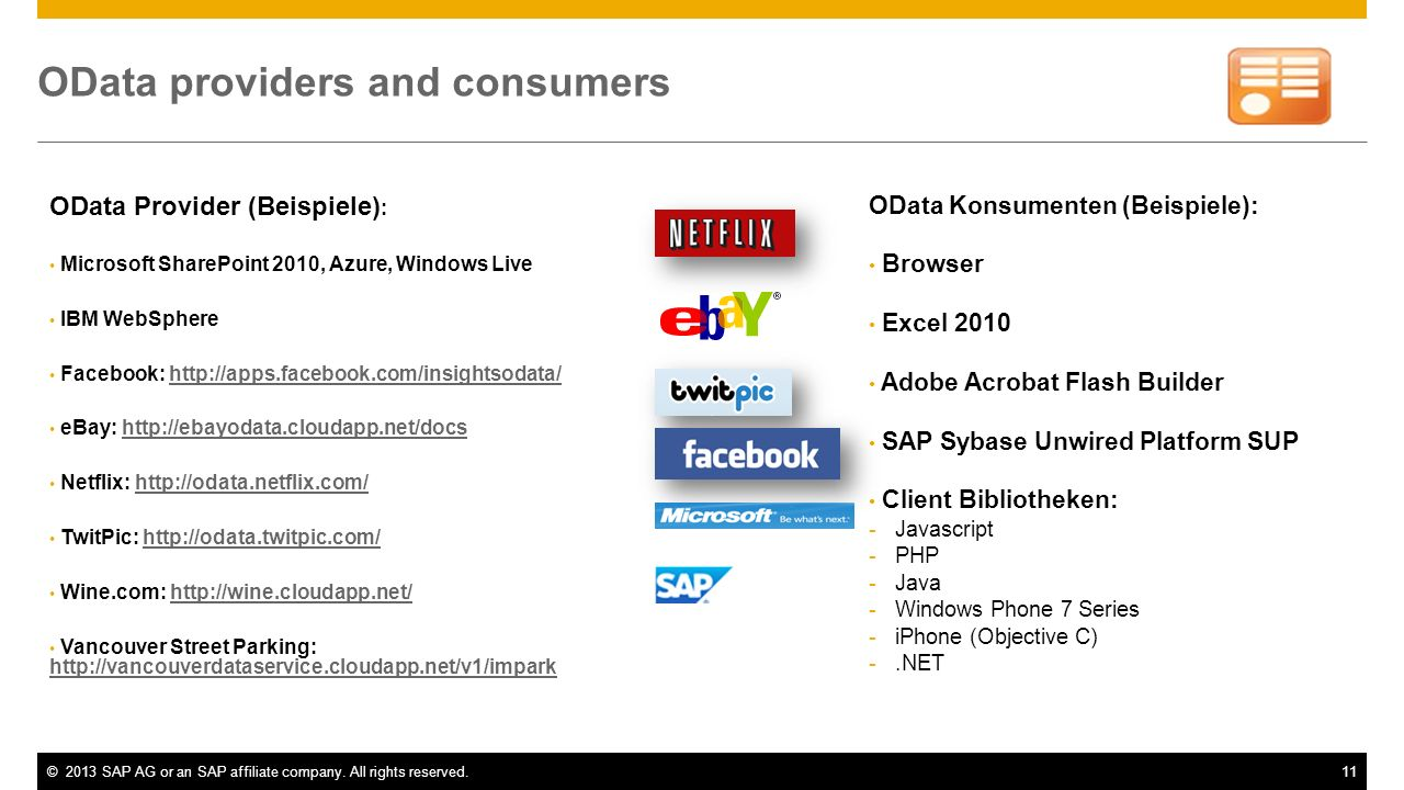 OData providers and consumers