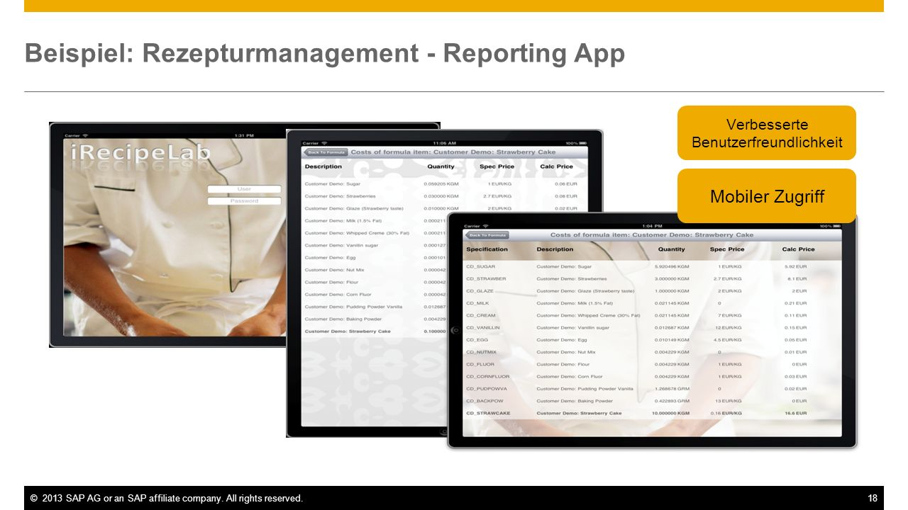 Beispiel: Rezepturmanagement - Reporting App