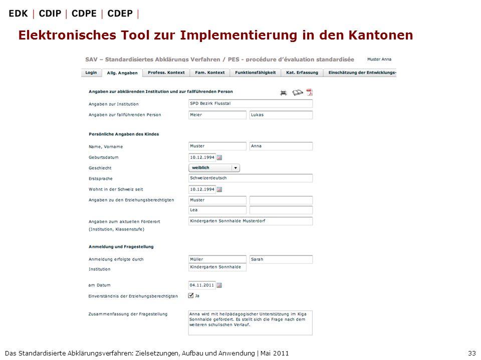 Elektronisches Tool zur Implementierung in den Kantonen