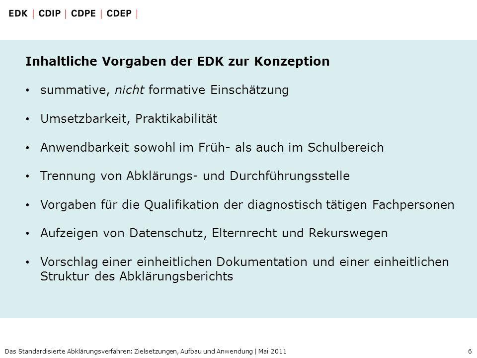 Inhaltliche Vorgaben der EDK zur Konzeption