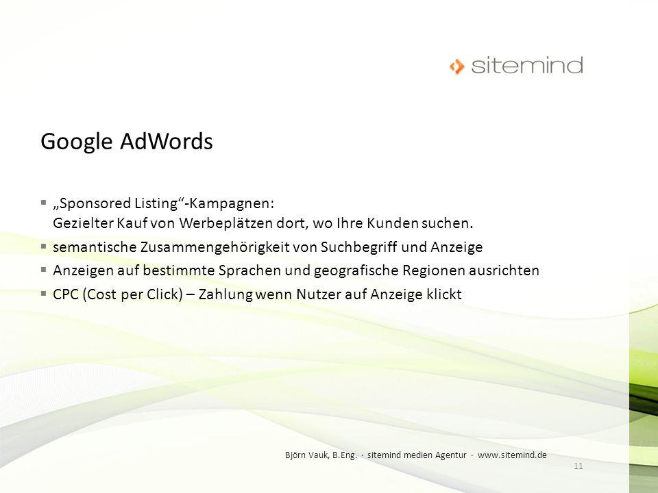 """Google AdWords """"Sponsored Listing -Kampagnen: Gezielter Kauf von Werbeplätzen dort, wo Ihre Kunden suchen."""