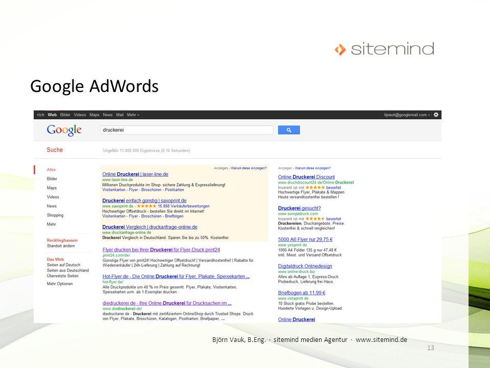 Google AdWords Björn Vauk, B.Eng. · sitemind medien Agentur · www.sitemind.de