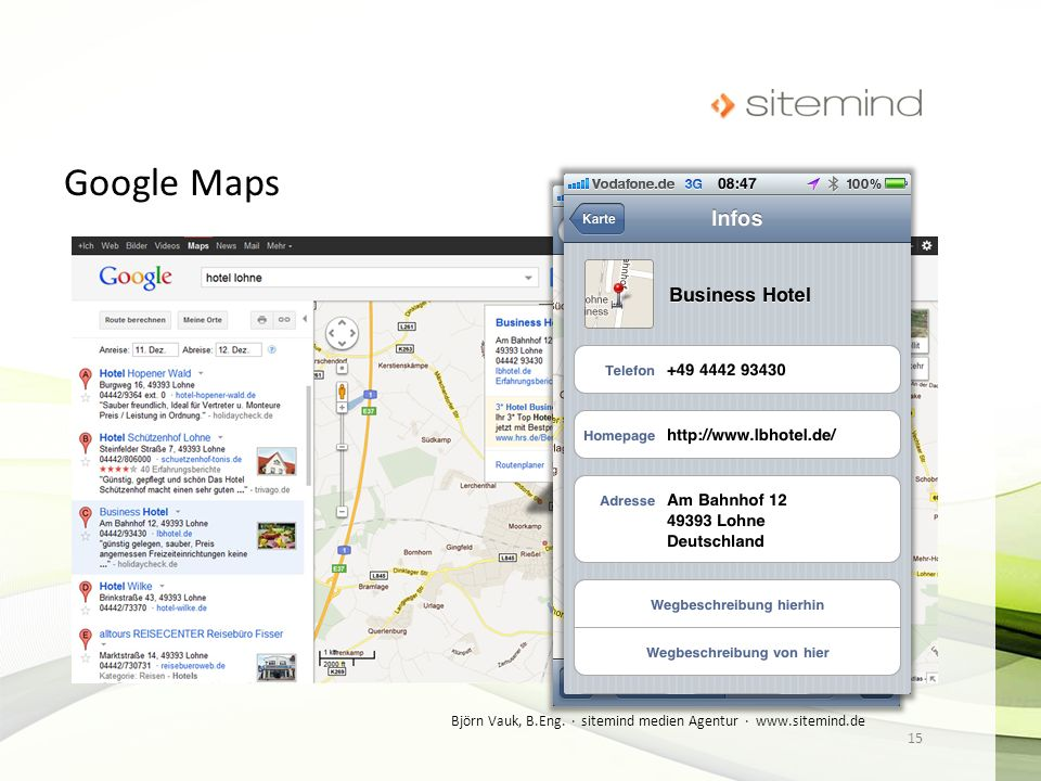 Google Maps Björn Vauk, B.Eng. · sitemind medien Agentur · www.sitemind.de