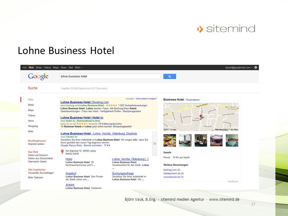 Lohne Business Hotel Björn Vauk, B.Eng. · sitemind medien Agentur · www.sitemind.de