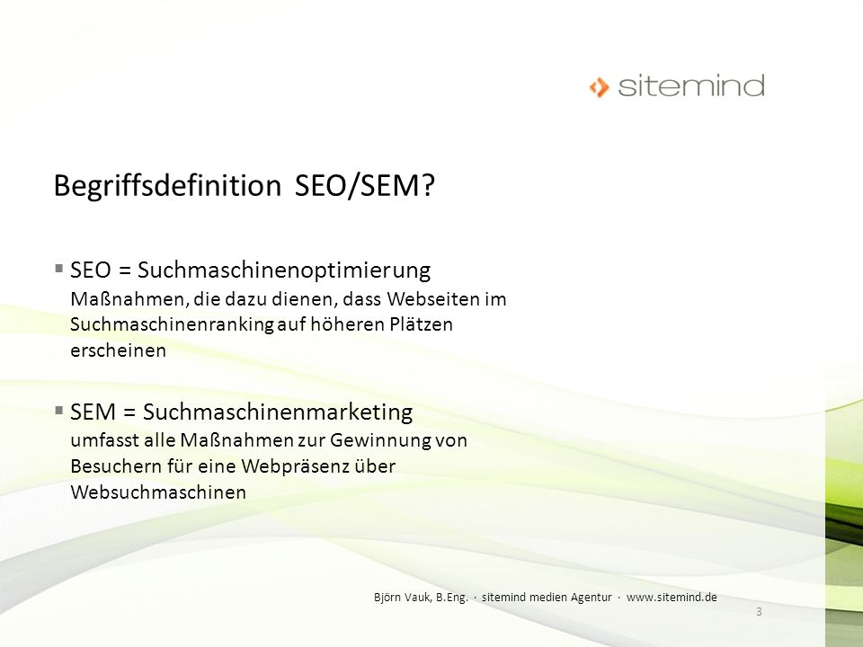 Begriffsdefinition SEO/SEM