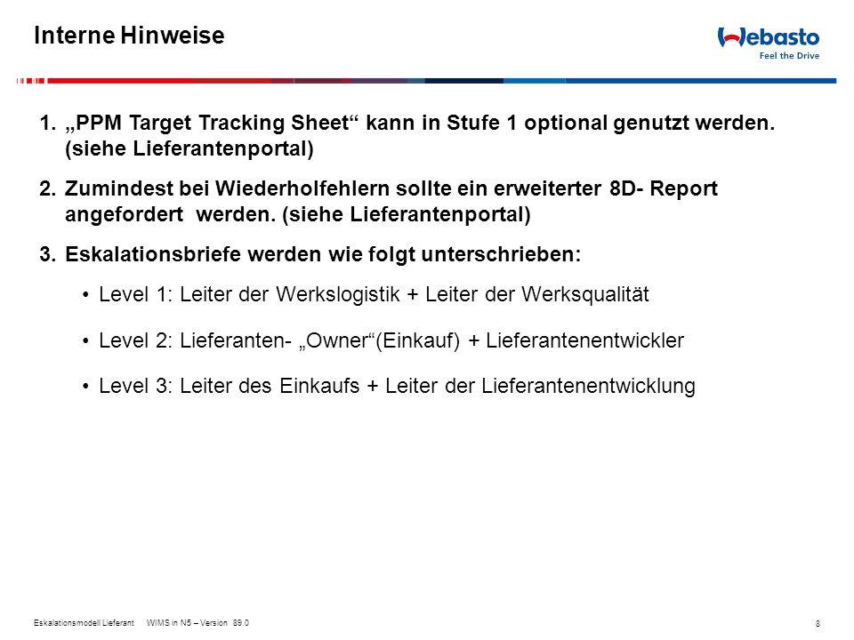"Interne Hinweise ""PPM Target Tracking Sheet kann in Stufe 1 optional genutzt werden. (siehe Lieferantenportal)"