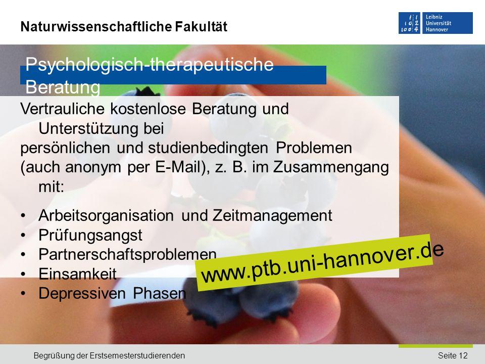 www.ptb.uni-hannover.de Psychologisch-therapeutische Beratung
