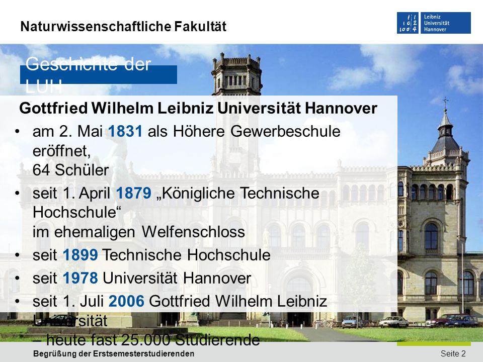 Geschichte der LUH Gottfried Wilhelm Leibniz Universität Hannover