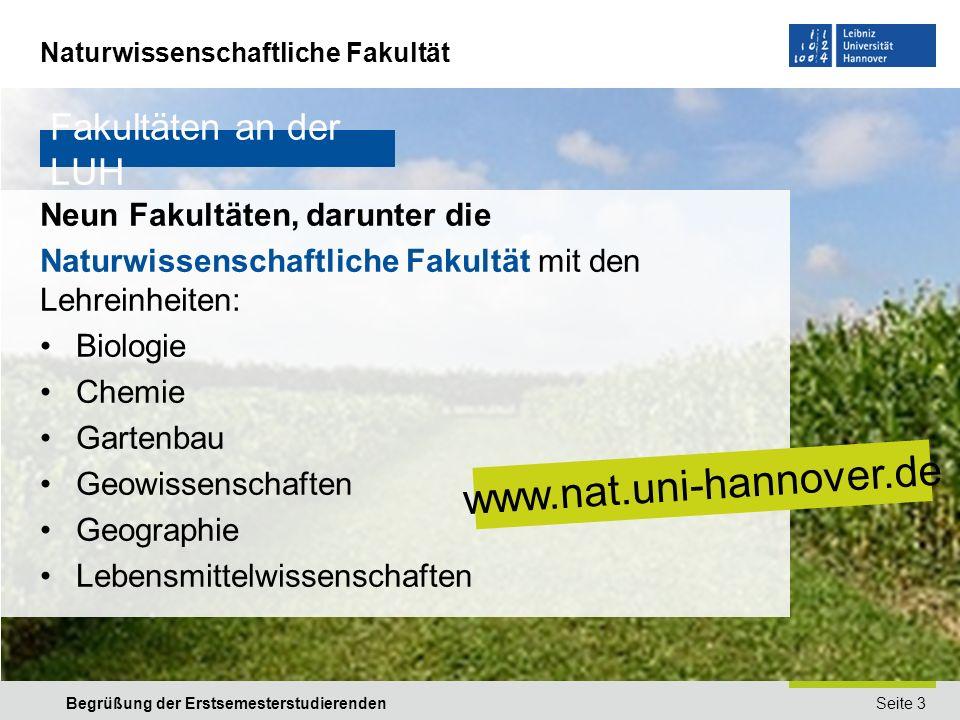 www.nat.uni-hannover.de Fakultäten an der LUH
