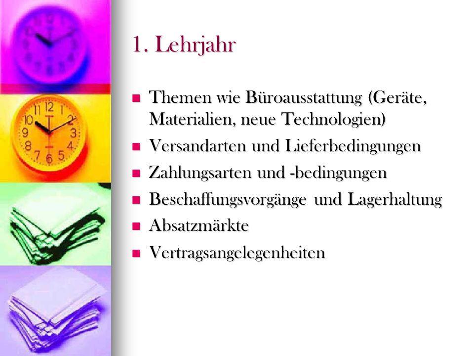 1. Lehrjahr Themen wie Büroausstattung (Geräte, Materialien, neue Technologien) Versandarten und Lieferbedingungen.